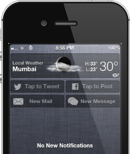 compose sms o mail da notification center